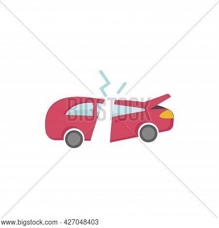 Broken Car Clipart. Broken Car Isolated Simple Flat Vector Clipart