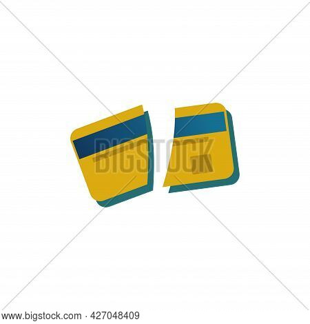 Broken Credit Card Clipart. Broken Credit Card Isolated Simple Flat Vector Clipart