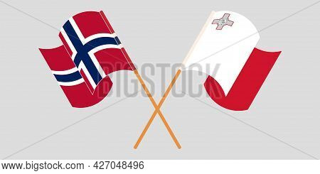 Crossed And Waving Flags Of Malta And Norway
