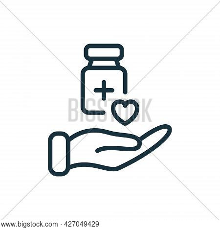 Medical Donation Linear Icon. Humanitarian Aid For Needy, Poor, Homeless And Sick. Hand Line Icon An