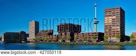 Panorama of Rotterdam cityscape with Euromast observation tower and Nieuwe Maas river. Rotterdam, Netherlands