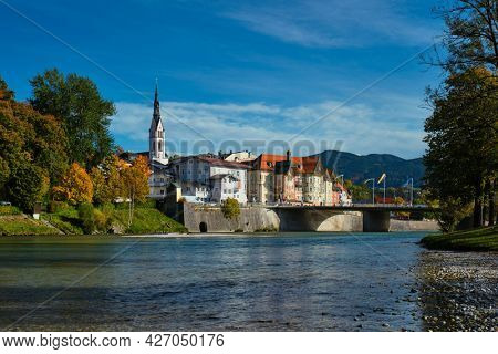 View of Bad Tolz - picturesque resort town in Bavaria, Germany in autumn and Isar river