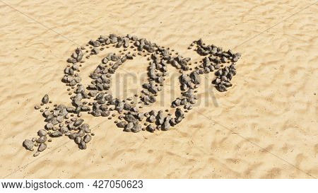 Concept conceptual stones on beach sand handmade symbol shape, golden sandy background, gender signs=. A 3d illustration metaphor for heterosexual relationships, couples, romance and family