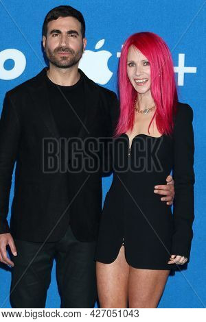 LOS ANGELES - JUL 15:  Brett Goldstein, Juno Temple at the Ted Lasso Season 2 Premiere Screening at the Pacific Design Center Rooftop on July 15, 2021 in Los Angeles, CA