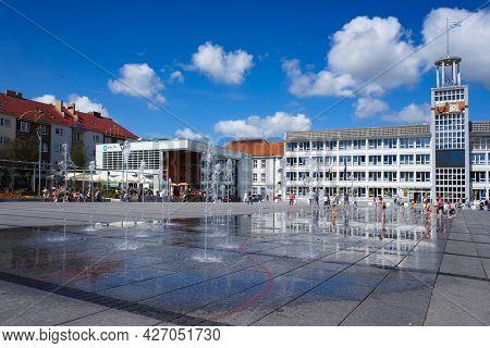 Koszalin, Poland - August 02, 2016: Old Town Market Square (Rynek Staromiejski) in Koszalin, Poland.