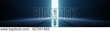 A man in a strange door light background banner. 3D illustration