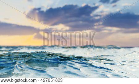 A ocean sunset landscape background. 3D illustration