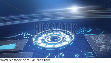 Image of scope scanning and data processing over blue background. digital interface, global connection and communication concept digitally generated image.