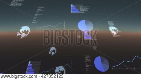 Image of data processing, globes spinning and statistics recording on gradient background. digital interface, global connection and communication concept digitally generated image.