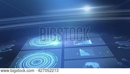 Image of statistics recording and scopes scanning on screens over glowing blue background. digital interface, global connection and communication concept digitally generated image.