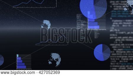 Image of data processing, globes spinning and statistics recording over universe. digital interface, global connection and communication concept digitally generated image.