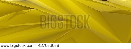 A yellow low poly background banner. 3D illustration