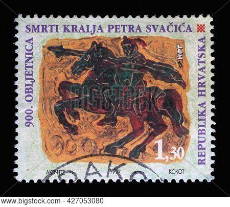 ZAGREB, CROATIA - SEPTEMBER 03, 2014: A stamp printed in Croatia shows King Petar Svacic, Series Croatian Kings, circa 1997