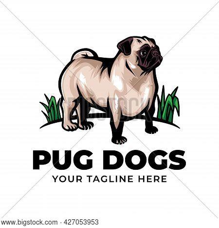 Cool Pug Dog Concept Logo Vector Icon Illustration Isolated On White Background