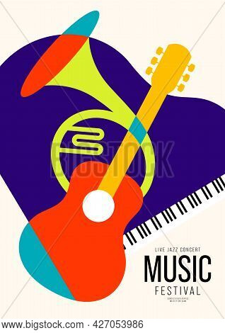 Music Poster Design Template Background Decorative With Guitar, French Horn, Piano. Design Element T