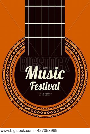 Music Poster Design Template Background Decorative With Acoustic Guitar. Design Element Template Can