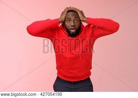 African-american Man Shocked Speechless Look Upset Stupor Hold Hands Head Drop Jaw Gazing Dazed Cann