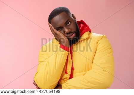 Annoyed Bothered Pissed African-american Bearded Man In Yellow Jacket Facepalm Look Angry Camera Irr