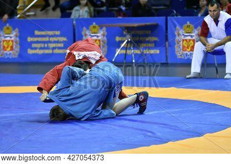 Orenburg, Russia - October 25-26, 2019: Boys Competitions Sambo
