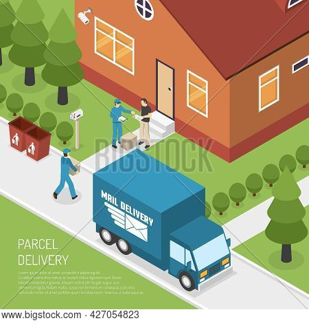 Post Office Letters And Parcels Delivery Service Isometric Poster With Postman At The Door Abstract