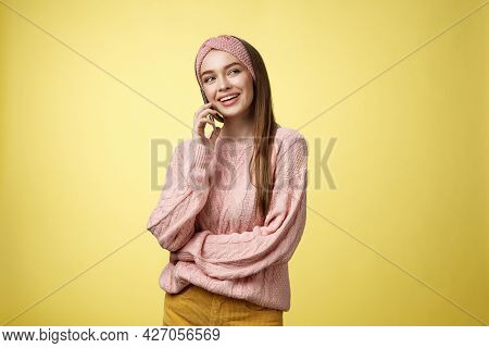 Talkative Attractive Glamour Young 20s European Woman Wearing Sweater, Knitted Headband Tilting Head