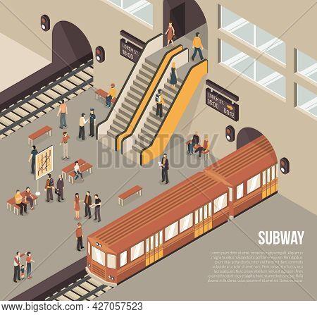 Subway Railway Rapid Transit System Underground Station Isometric Poster With Passengers On Platform