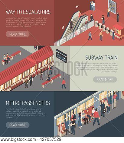 Underground Railway Subway System Webpage 3 Isometric Banners Design With Metro Passengers On Escala