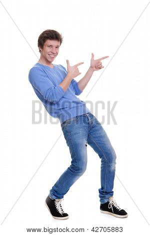 happy teen pointing at copy space