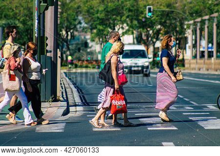 Seville Spain July 09, 2021 Pedestrians Walking In The Streets Of Seville During The Coronavirus Out