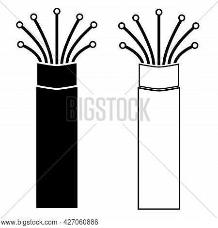 Fiber Optic Cable On White Background. Optic Cable Sign. Optic Fiber Line Symbol. Flat Style.