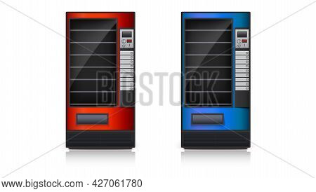 Set Of Empty Vending Machines. Red And Blue Vending Machines Isolated On White. Vector Illustration