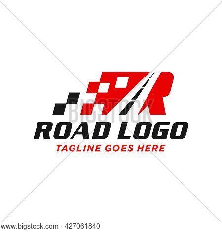 Highway Asphalt Illustration Logo Design With Letter R