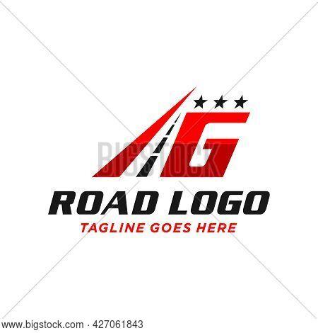 Highway Asphalt Illustration Logo Design With Letter G