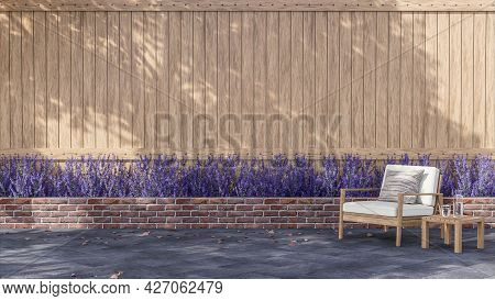 Empty Plank Wall Exterior With Wooden Chair 3d Render Decorate With Lavender Flower Base, Sunlight S