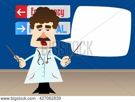 Funny Cartoon Doctor As An Orchestra Conductor. Vector Illustration.