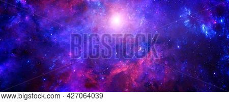 A Cosmic Background With A Blue-red Nebula And Shining Stars In An Infinite Universe