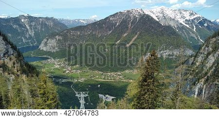 Obertraun, Austria - May 18, 2019: This Is A View Of The City And The Vicinity Of Lake Hallstatsee I