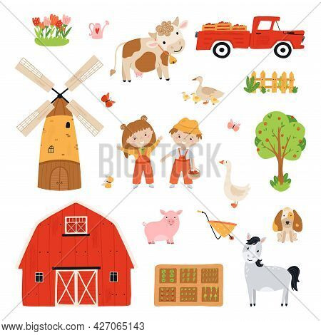 Set Farm Elements. Collection Farm Animals In A Flat Style. Children Farmers Are Harvesting Crops. I