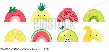 Set With A Cute Fruit Rainbow. Colorful Fruits Characters. Illustration With Slices Of Watermelon, A