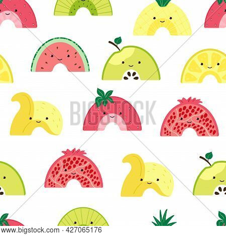 Seamless Pattern With Cute Fruit Rainbow. Background With Colorful Fruits Characters. Illustration W