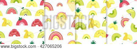 Set Seamless Pattern With Cute Fruit Rainbow. Background With Colorful Fruits, Ice Cream And Cocktai