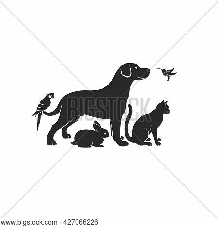 Vector Group Of Pets - Dog, Cat, Humming Bird, Parrot, Rabbit Isolated On White Background. Pet Icon