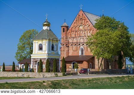 The Ancient Church-fortress Of St. Michael Is Close-up On A Sunny April Day. Synkovichi, Belarus