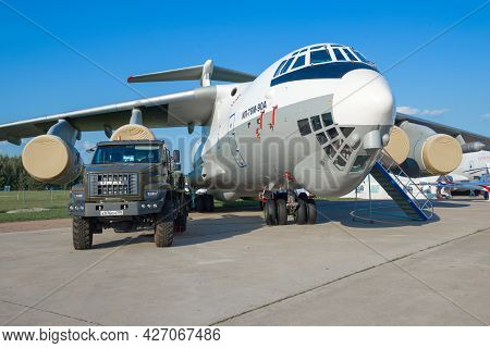 Zhukovsky, Russia - August 30, 2019: Russian Aviation Tanker Il-78m-90a And Truck