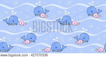 Blue Mother Whale And Pink Baby Whale Swim On The Waves On A Blue Background With Bubbles. Endless T
