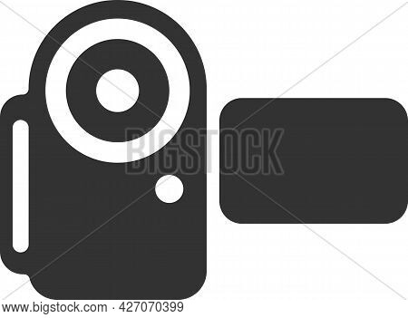 Flat Black Vector Icon Of A Handheld Video Camera.