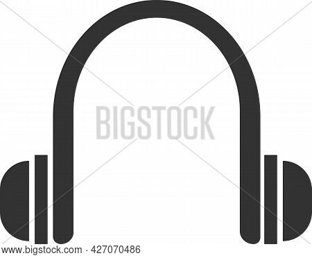 Flat Black Vector Icon Of Wireless Headphones. The Silhouette Of The Headset.