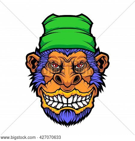 Funny Monkey. Vector Illustration For Use As Print, Poster, Sticker, Logo, Tattoo, Emblem And Other.