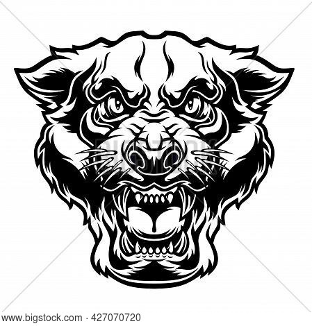 Angry Panther Head. Vector Illustration For Use As Print, Poster, Sticker, Logo, Tattoo, Emblem And