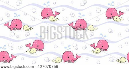 Pink Mother Whale And Yellow Baby Whale On A White Background With Waves And Bubbles. Endless Textur